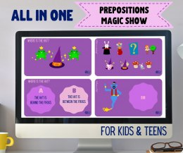 ALL IN ONE Prepositions Magic Show TEENS and KIDS - zestaw dwóch prezentacji interaktywna do lekcji online