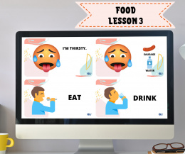 FOOD LESSON 3 - Hungry/Thirsty, Eat/Drink - do lekcji online
