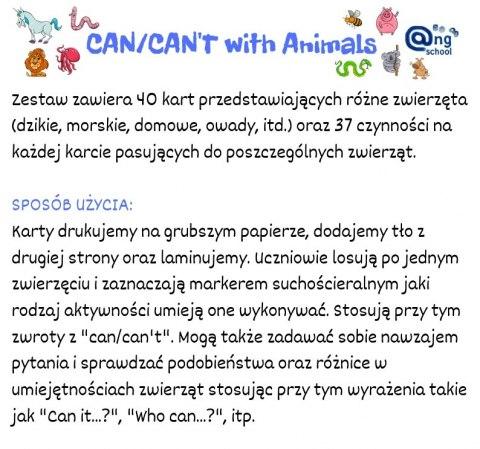 Zestaw 3 - Can/Can't with Animals wersja angielska